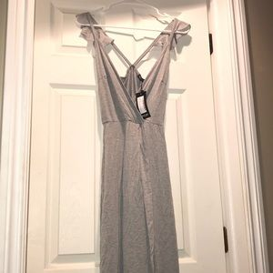 NWT Gray Wrap Over Maxi Dress